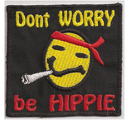 Smiley-Dont-worry-be-HIPPIE-Aufnaeher-Patch-Woodstock-60s-70s-Joint