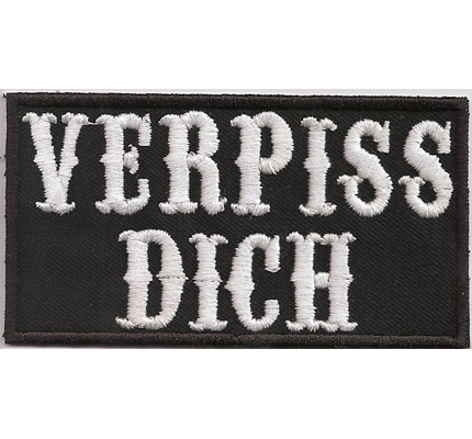 verpiss dich punk anarchy heavy metal biker rocker aufn her patch. Black Bedroom Furniture Sets. Home Design Ideas